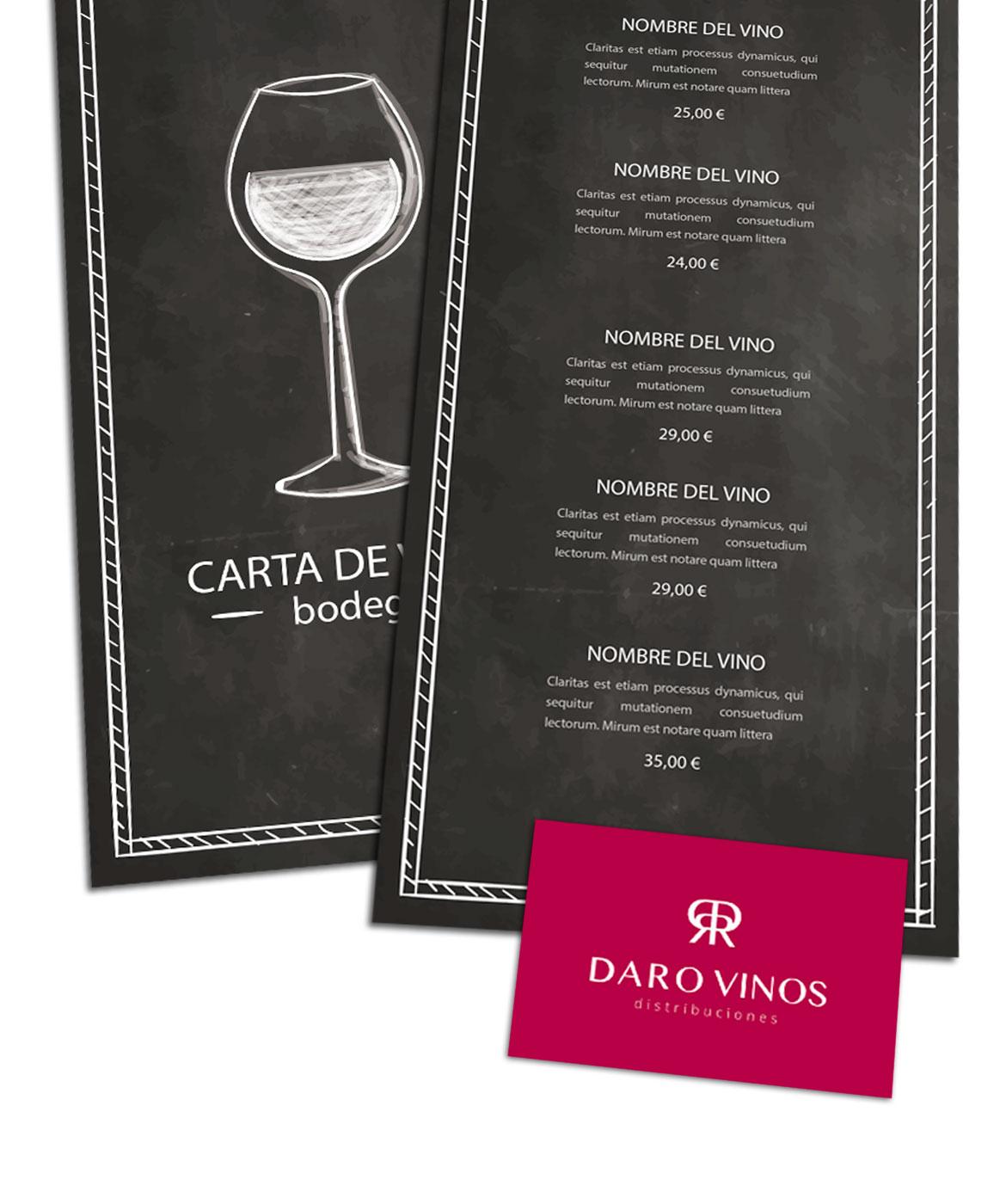 Daro Vinos Distribuciones Cartas de Restaurantes Cádiz